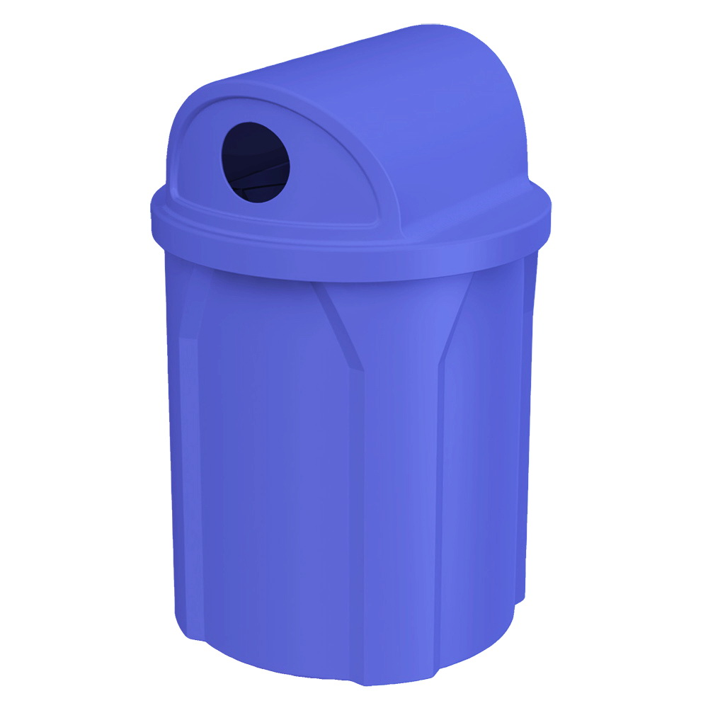 42 gallon round recycling receptacle for campgrounds, parks, pools, playgrounds