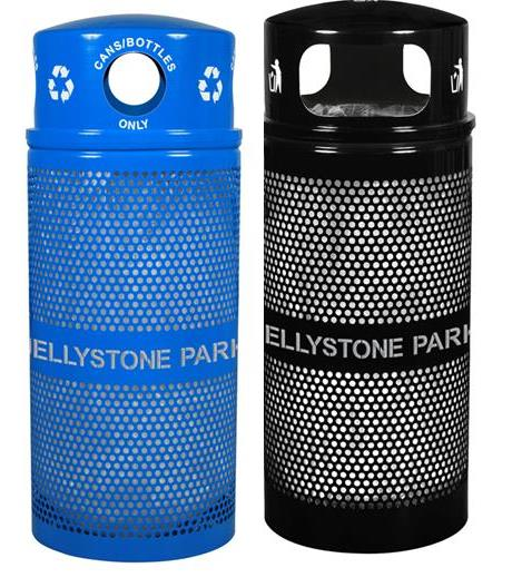 NEW!  Custom Jellystone Park  34 Gallon Landscape Series Trash & Recycle Receptacle