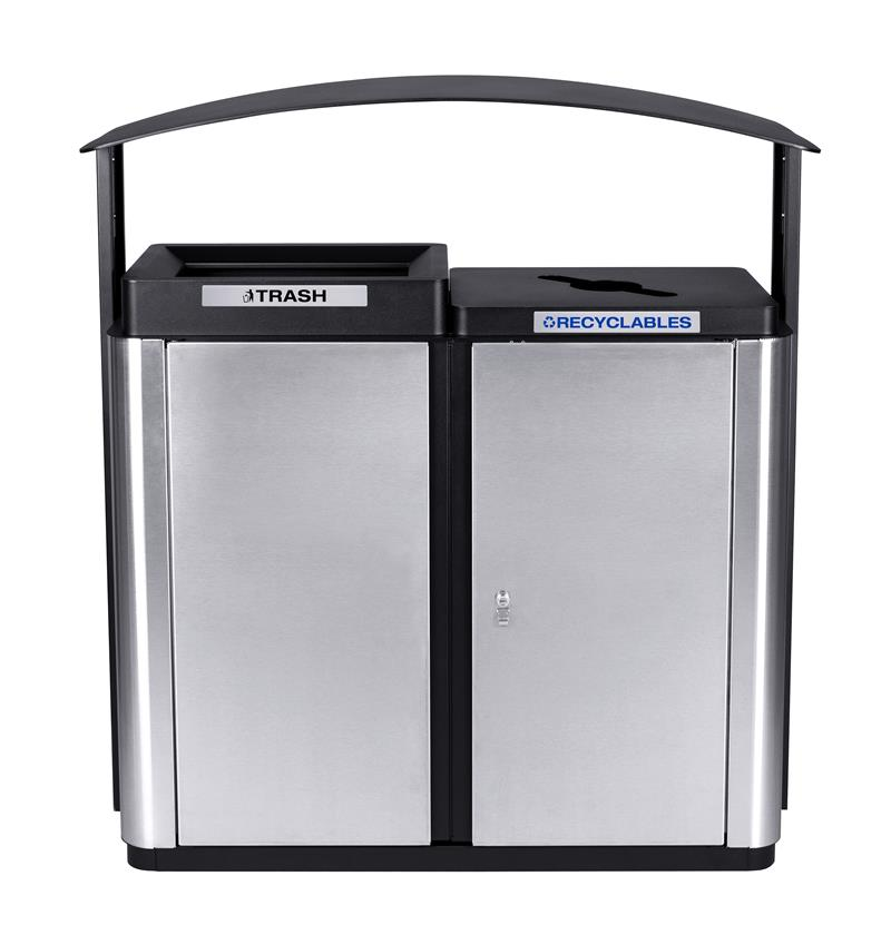 Two Stream Outdoor  Receptacle with Canopy 70 Gallon Capacity