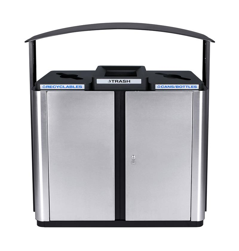 Three Stream Outdoor Receptacle with Canopy 75 Gallon Capacity
