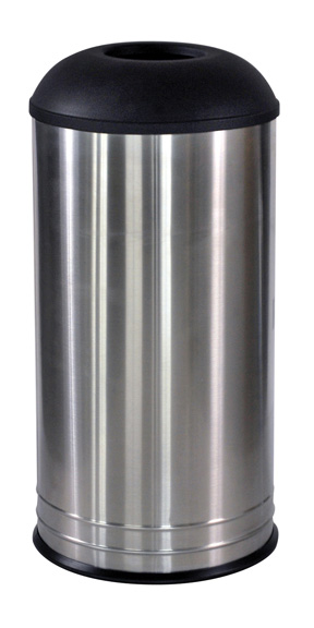 18 Gallon Cafe Style Top Designer Trash Can - Stainless Steel Body