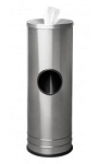 Disinfecting Wipe Dispenser Station with Trash Can - Satin Stainless Steel