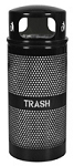 34 Gallon Landscape Series Perforated Trash Receptacle with Dome Top  WR-34R DM BLK