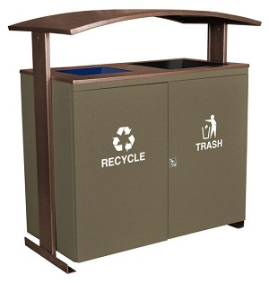Two Stream Recycling Receptacle with Canopy
