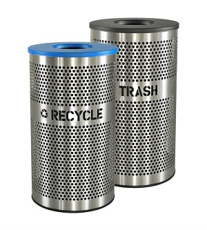 33 Gallon Venue Collection Outdoor Perforated Stainless Steel Recycle