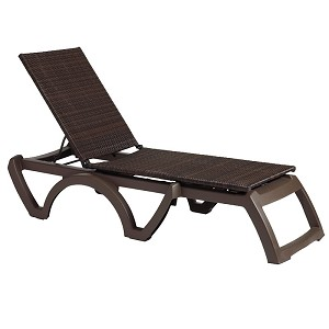 Java All Weather Wicker Chaise Espresso